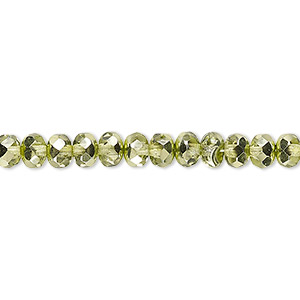 Bead, Czech Fire-polished Glass, Metallic Green, 5x4mm Faceted Rondelle. Sold Per 16-inch Strand 152-35001-17-5mm-00030-97354