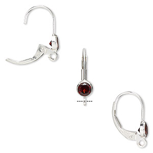 Earwire, Garnet (natural) Sterling Silver, 17mm Leverback 4mm Faceted Round Open Loop. Sold Per Pair