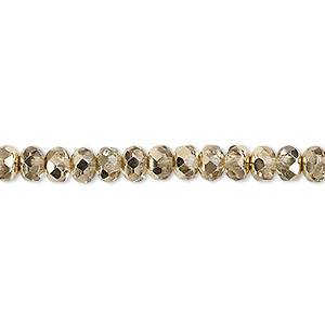 Bead, Czech Fire-polished Glass, Metallic Pale Gold, 5x4mm Faceted Rondelle. Sold Per 16-inch Strand 152-35001-17-5mm-00030-97387