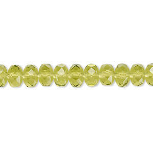 Bead, Czech Fire-polished Glass, Olivine, 7x5mm Faceted Rondelle. Sold Per 16-inch Strand