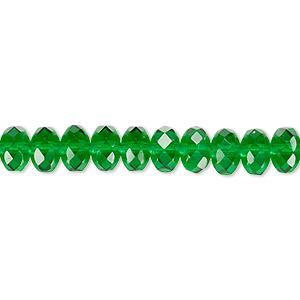 Bead, Czech Fire-polished Glass, Emerald Green, 7x5mm Faceted Rondelle. Sold Per 16-inch Strand 152-35001-00-7mm-50140