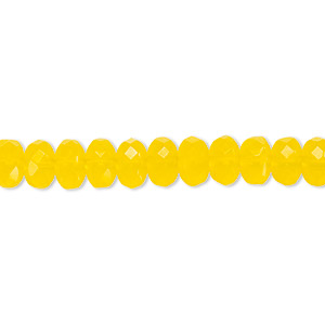 Bead, Czech Fire-polished Glass, Yellow, 7x5mm Faceted Rondelle. Sold Per 16-inch Strand 152-35001-00-7mm-80020