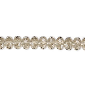 Bead, Czech Fire-polished Glass, Smoke, 7x5mm Faceted Rondelle. Sold Per 16-inch Strand 152-35001-00-7mm-40020