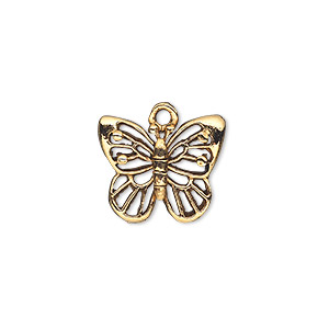 Charm, Antique Gold-plated Pewter (tin-based Alloy), 17x14mm Single-sided Butterfly. Sold Per Pkg 2