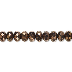 Bead, Czech Fire-polished Glass, Opaque Bronze, 7x5mm Faceted Rondelle. Sold Per 16-inch Strand 152-35001-00-7mm-23980-14415
