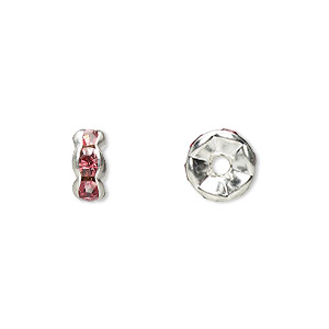Spacer Beads Silver Plated/Finished Pinks