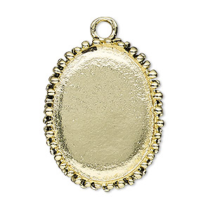 "Focal, Antiqued Gold-finished ""pewter"" (zinc-based Alloy), 34x27mm Oval Beaded Design 30x22mm Non-calibrated Oval Setting. Sold Individually"