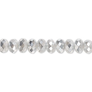 Bead, Czech Fire-polished Glass, Metallic Chrome, 7x5mm Faceted Rondelle. Sold Per 16-inch Strand