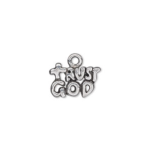 "Charm, Antiqued Pewter (tin-based Alloy), 15x10mm Single-sided 2-tiered ""Trust God."" Sold Per Pkg 2"