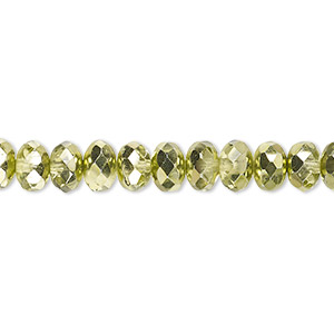 Bead, Czech Fire-polished Glass, Metallic Green, 7x5mm Faceted Rondelle. Sold Per 16-inch Strand