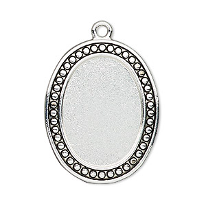 "Focal, Antiqued Silver-finished ""pewter"" (zinc-based Alloy), 33x26mm Oval Beaded Design 25x18mm Non-calibrated Oval Setting. Sold Individually"