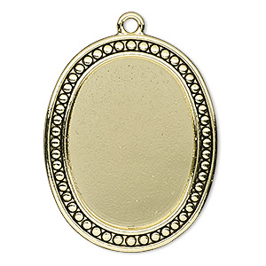"Focal, Antiqued Gold-finished ""pewter"" (zinc-based Alloy), 38x31mm Oval Beaded Design 30x22mm Non-calibrated Oval Setting. Sold Individually"