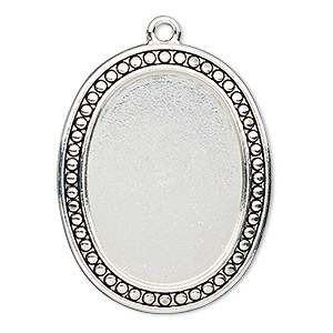 "Focal, Antiqued Silver-finished ""pewter"" (zinc-based Alloy), 38x31mm Oval Beaded Design 30x22mm Non-calibrated Oval Setting. Sold Individually"