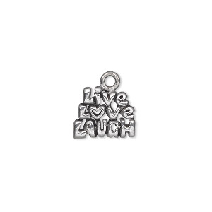 "Charm, Antiqued Pewter (tin-based Alloy), 13x11mm Single-sided 3-tiered ""Live Love Laugh."" Sold Per Pkg 2"