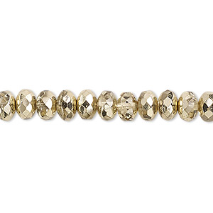 Bead, Czech Fire-polished Glass, Metallic Pale Gold, 7x5mm Faceted Rondelle. Sold Per 16-inch Strand 152-35001-17-7mm-00030-97387