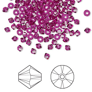Bead, Swarovski® Crystals, Crystal Passions®, Fuchsia, 3mm Xilion Bicone (5328). Sold Per Pkg 1,440 (10 Gross) 5328