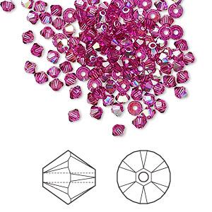 Bead, Swarovski® Crystals, Crystal Passions®, Fuchsia AB, 3mm Xilion Bicone (5328). Sold Per Pkg 48 5328