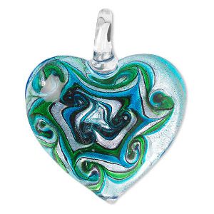 Pendant, Lampworked Glass, Multicolored Silver-colored Foil, 47x40mm Single-sided Puffed Heart Swirled Design. Sold Individually