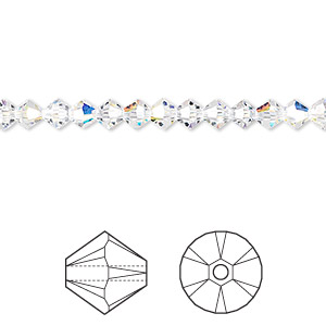 Bead, Swarovski® Crystals, Crystal Passions®, Crystal AB, 4mm Xilion Bicone (5328). Sold Per Pkg 48 5328