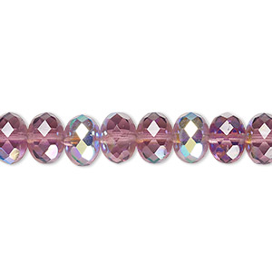Bead, Czech Fire-polished Glass, Transparent Amethyst Purple AB, 9x5mm Faceted Rondelle. Sold Per 16-inch Strand