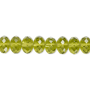 Bead, Czech Fire-polished Glass, Transparent Olivine, 9x5mm Faceted Rondelle. Sold Per 16-inch Strand 152-35001-00-9mm-50230