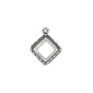 Drop, JBB Findings, Antique Silver-plated Brass, 15x15mm Square Open Back Decorative Trim 10x10mm Square Bezel Setting. Sold Individually 9425ASP