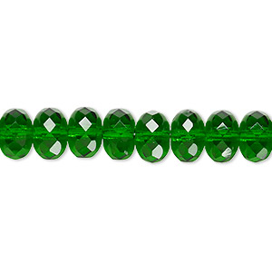 Bead, Czech Fire-polished Glass, Translucent Emerald Green, 9x5mm Faceted Rondelle. Sold Per 16-inch Strand 152-35001-00-9mm-50140