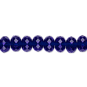 Bead, Czech Fire-polished Glass, Translucent Cobalt, 9x5mm Faceted Rondelle. Sold Per 16-inch Strand 152-35001-00-9mm-30080