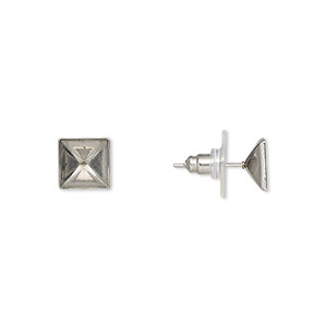 Earstud, Almost Instant Jewelry®, Stainless Steel, 9x9mm 8x8mm Square Setting. Sold Per Pkg 2 Pairs 3202MT