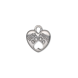 "Charm, Antiqued Pewter (tin-based Alloy), 14x13mm Double-sided Heart ""Best Friend"" Open Paw Print. Sold Per Pkg 2"