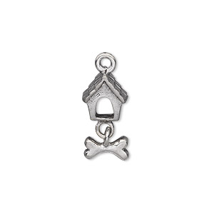 Charm, Antiqued Pewter (tin-based Alloy), 19x9x8mm Single-sided Dog House Dog Bone. Sold Individually