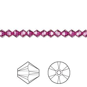 Bead, Swarovski® Crystals, Fuchsia, 4mm Xilion Bicone (5328). Sold Per Pkg 48 5328