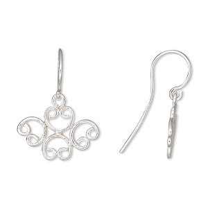 Hook Ear Wire Findings Sterling Silver Silver Colored