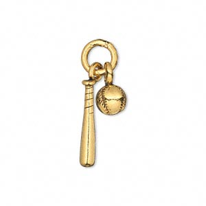 Charm, Antique Gold-plated Pewter (tin-based Alloy), 7mm 3D Baseball 19x3.5mm 3D Baseball Bat. Sold Individually