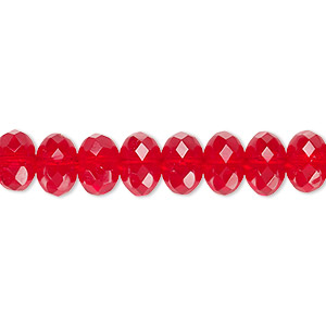 Bead, Czech Fire-polished Glass, Transparent Light Red, 9x5mm Faceted Rondelle. Sold Per 16-inch Strand
