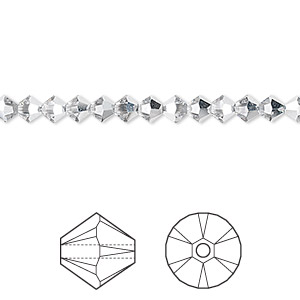3d5fb4bf8 Bead, Swarovski® crystals, crystal CAL, 4mm Xilion bicone with 0.8mm hole  (5328). Sold per pkg of 48.