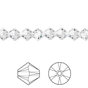 Bead, Swarovski® Crystals, Crystal Passions®, Crystal Clear, 6mm Xilion Bicone (5328). Sold Per Pkg 24 5328