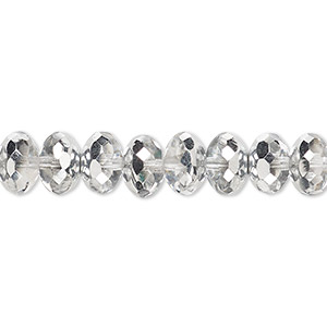 Bead, Czech Fire-polished Glass, Translucent Metallic Silver, 9x5mm Faceted Rondelle. Sold Per 16-inch Strand 152-35001-00-9mm-00030-27001