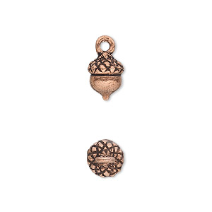 Charm, Antique Copper-plated Pewter (tin-based Alloy), 9x8mm Acorn. Sold Per Pkg 4