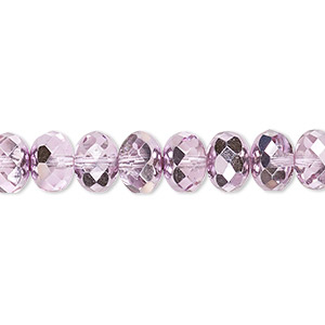 Bead, Czech Fire-polished Glass, Translucent Metallic Pink Silver, 9x5mm Faceted Rondelle. Sold Per 16-inch Strand