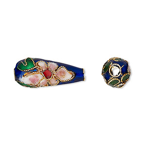 Bead, Cloisonné, Enamel Gold-finished Copper, Blue Multicolored, 22x7mm Teardrop Flower Design. Sold Per Pkg 4