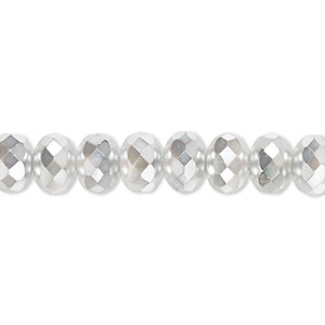 Bead, Czech Fire-polished Glass, Opaque Metallic Chrome, 9x5mm Faceted Rondelle. Sold Per 16-inch Strand 152-35001-17-9mm-00030-97302