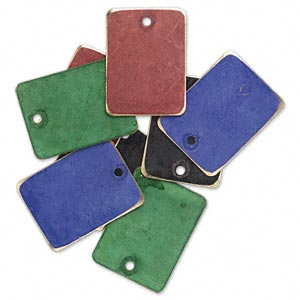 Drop, Brass, Assorted Jewel Tone Patina, Assorted Pantone® Colors, 20x15mm Double-sided Rectangle. Sold Per Pkg 8