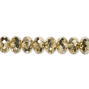 Bead, Czech Fire-polished Glass, Transparent Metallic Pale Gold, 9x5mm Faceted Rondelle. Sold Per 16-inch Strand 152-35001-17-9mm-00030-97387