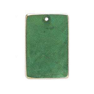 Focal Br Jewel Tone Green Patina Pantone Color 18 6216 30x20mm Double Sided Rectangle Sold Per Pkg Of 6