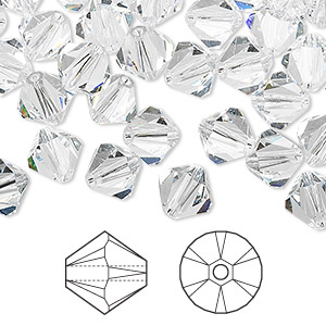 Bead, Swarovski® Crystals, Crystal Passions®, Crystal Clear, 8mm Xilion Bicone (5328). Sold Per Pkg 72 5328