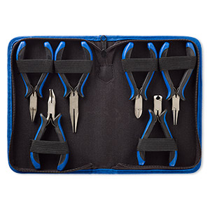 Pliers Set, Polyester / Plastic / Steel, Black Blue, 5 5-1/2 Inches 8-1/2 X 5-1/2 X 1-1/2 Inch Case. Sold Per 6-piece Set