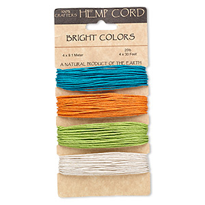 Cord, Hemptique®, hemp, turquoise blue, orange, light green and white, 1mm diameter. Sold per 120-foot set, 4 colors, 30 feet per color.