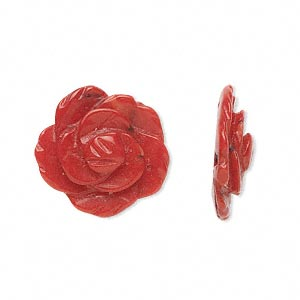 Bead, Bamboo Coral (dyed), Red, 18-22mm Rose, Mohs Hardness 3-1/2 4. Sold Individually