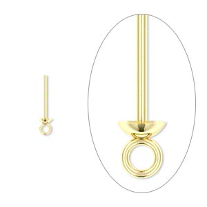Headpin, 14Kt Gold-filled, 24 Gauge, 1/2 Inch Long, Cup Ring. Sold Per Pkg 4